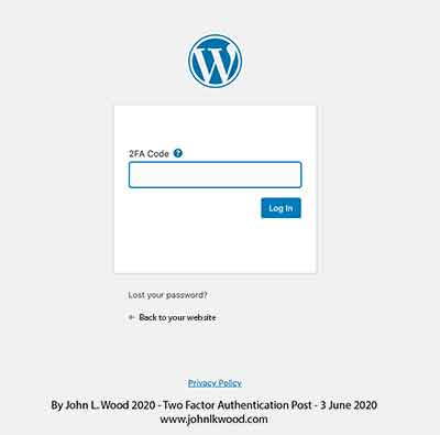 Two Factor Authentication For WordPress login security
